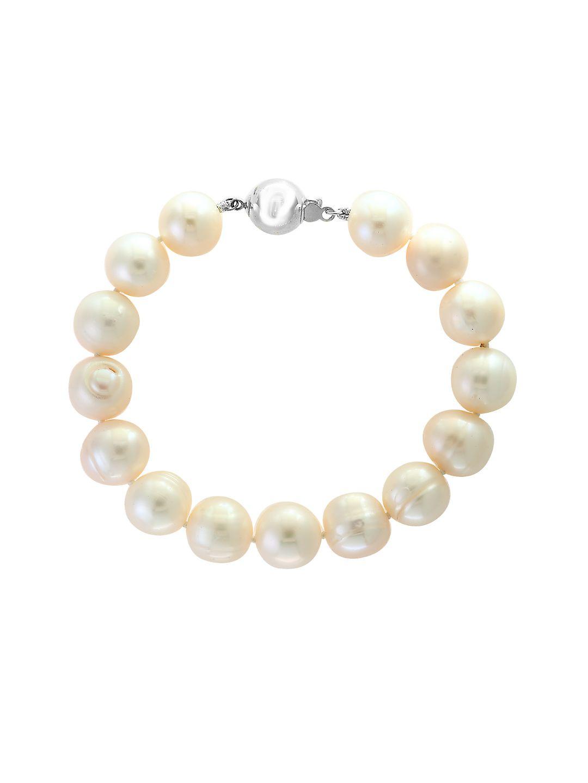 Sterling Silver & 11mm White Pearl Bracelet