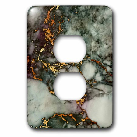 3dRose Shiny Green Pink Gold Gem Stone Marble Glitter Metallic Faux Print - 2 Plug Outlet Cover (lsp_268831_6)