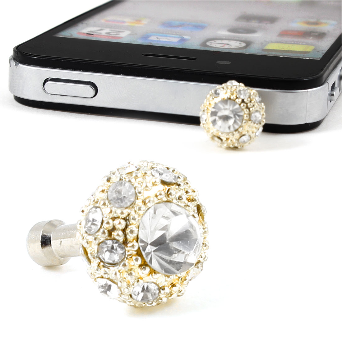 Unique Bargains White Bling Rhinestone Crown Ornamental 3.5mm Anti Dust Ear Cap Plug Stopper