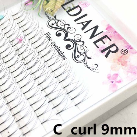 Individual False Eye Lashes 6D Wave 0.07 C Black Silk Eyelashes Extension