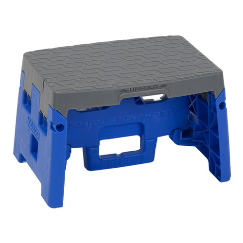 "Cosco 1 Step Molded Folding Step Stool 9"" with 300lb Capacity, Blue and Gray"