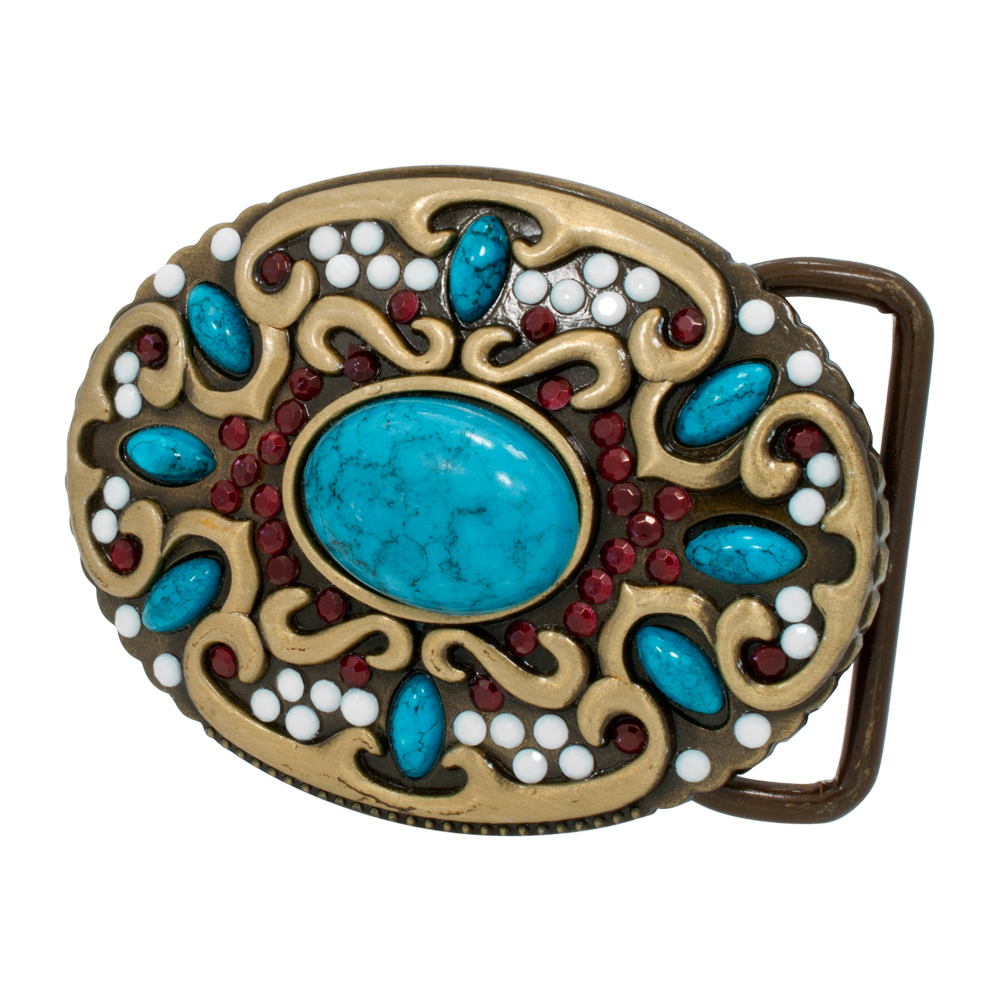 Buckle Rage Western Native American Turquoise Stone Indian Ladies Woman Cowgirl Belt Buckle, SILVER, 283