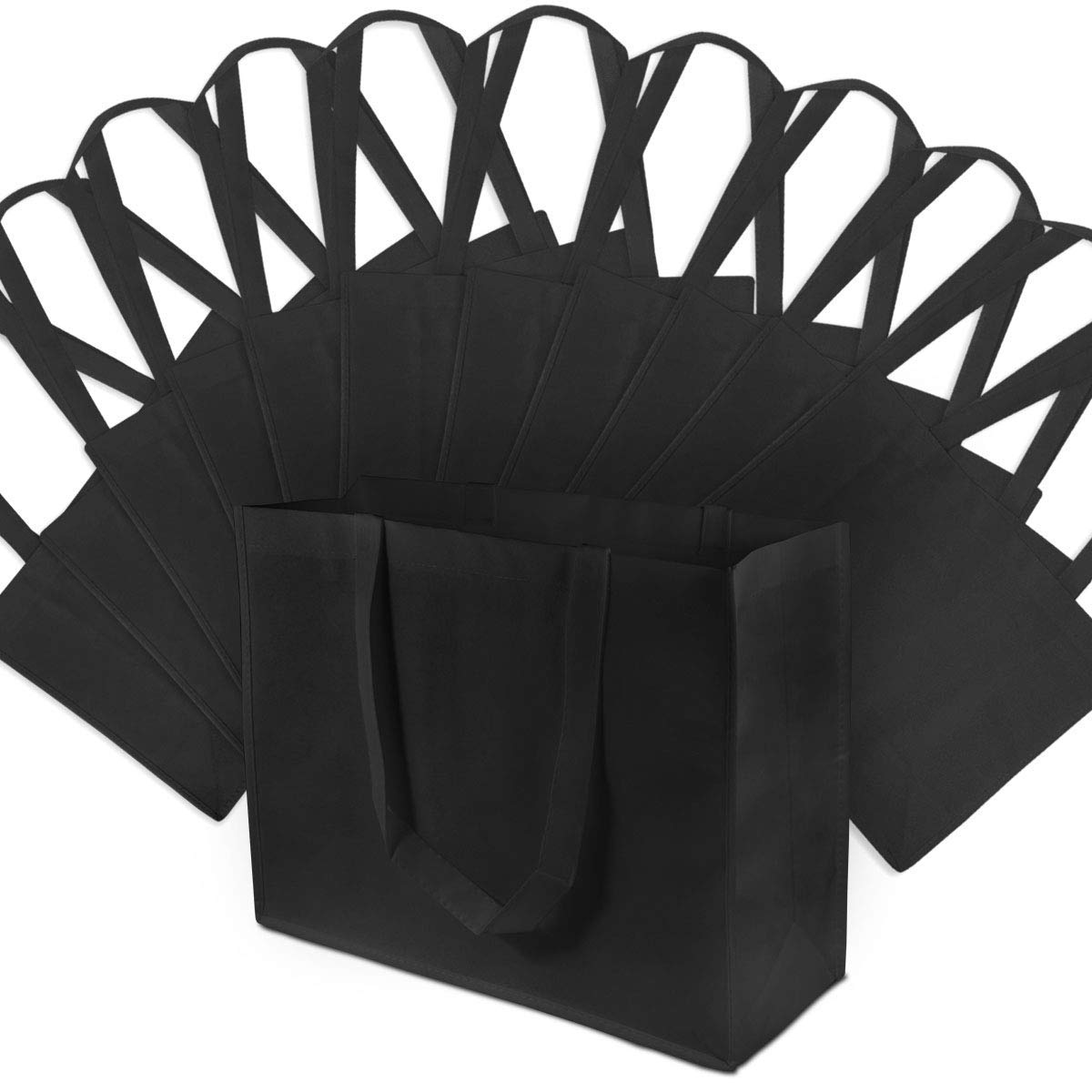 """16x12x6"""" Large Black Reusable Gift Bags, Shopping Bags, Grocery Bags"""