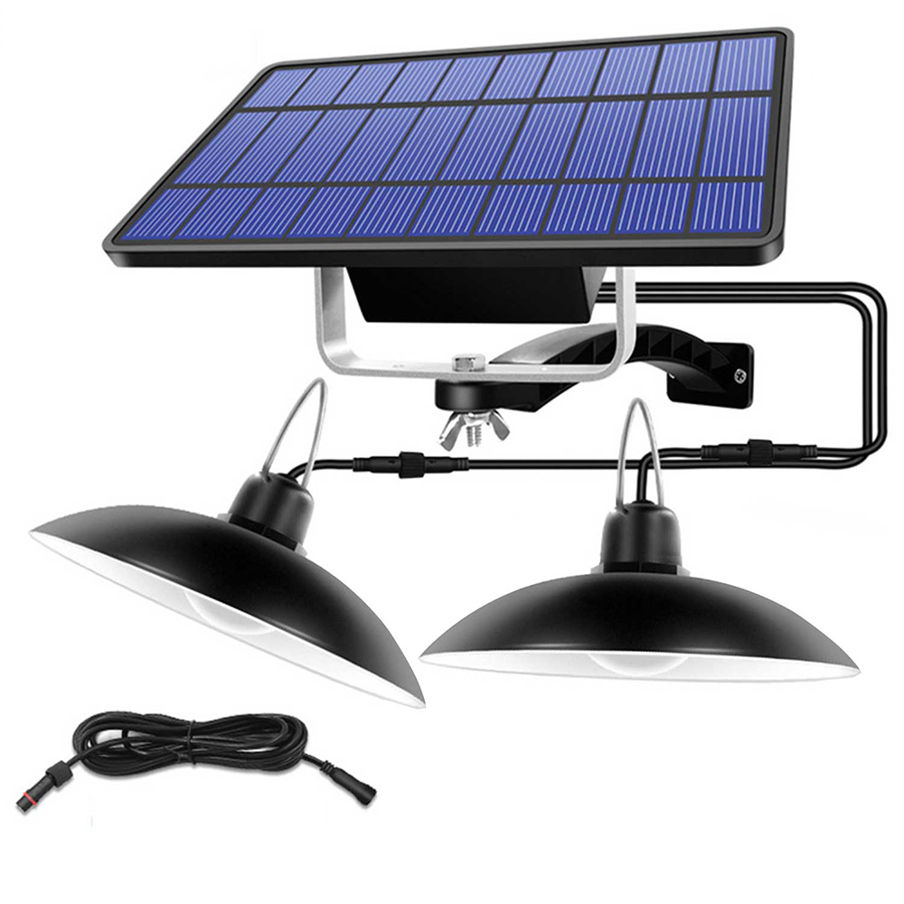 Details about  /Solar Waterproof Outdoor Indoor Pendant Light  Double or Single Head Lamp With