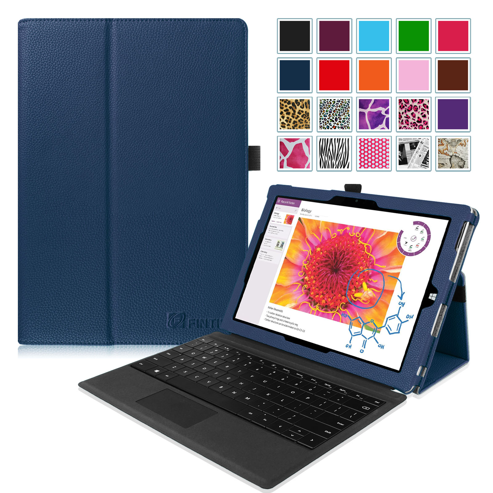 Fintie Case for Microsoft Surface 3 - PU Leather Folio Stand Cover for Microsoft Surface 3 10.8-Inch Tablet, Navy