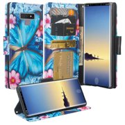 Samsung Galaxy Note 9 Case, Cute Flip Folio [Kickstand] Pu Leather Wallet Case with ID & Card Slots & Pocket Phone Case Cover for Girls Women - Blue Butterfly