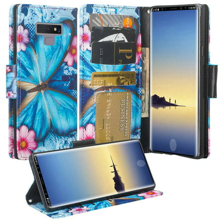 Samsung Galaxy Note 9 Case, Cute Flip Folio [Kickstand] Pu Leather Wallet Case with ID & Card Slots & Pocket Phone Case Cover for Girls Women - Blue (Best Brush Set With Pu Cases)