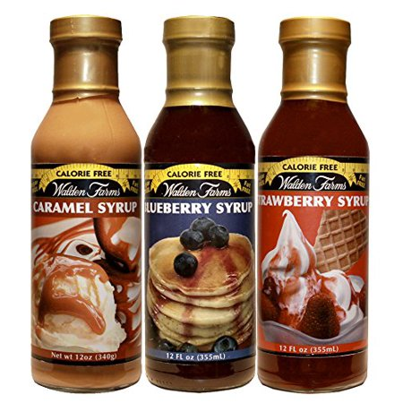 Walden Farms Syrup Variety Pack, Caramel, Blueberry, Strawberry - 3 Bottles
