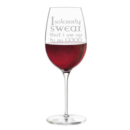 I Solemnly Swear I am Up to No Good Engraved Wine Glass (Engraved Crystal Wine Glasses)