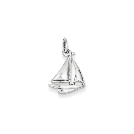 14k White Gold Solid Polished 3-Dimensional Sailboat Charm - 1.0 Grams - Measures 19.2x12.1mm