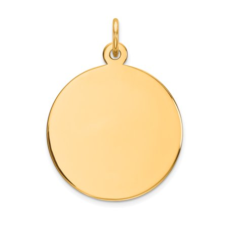14k Yellow Gold Plain 0.011 Gauge Circular Engravable Disc Charm (1in long x 0.7in (Brass Circular Charm)