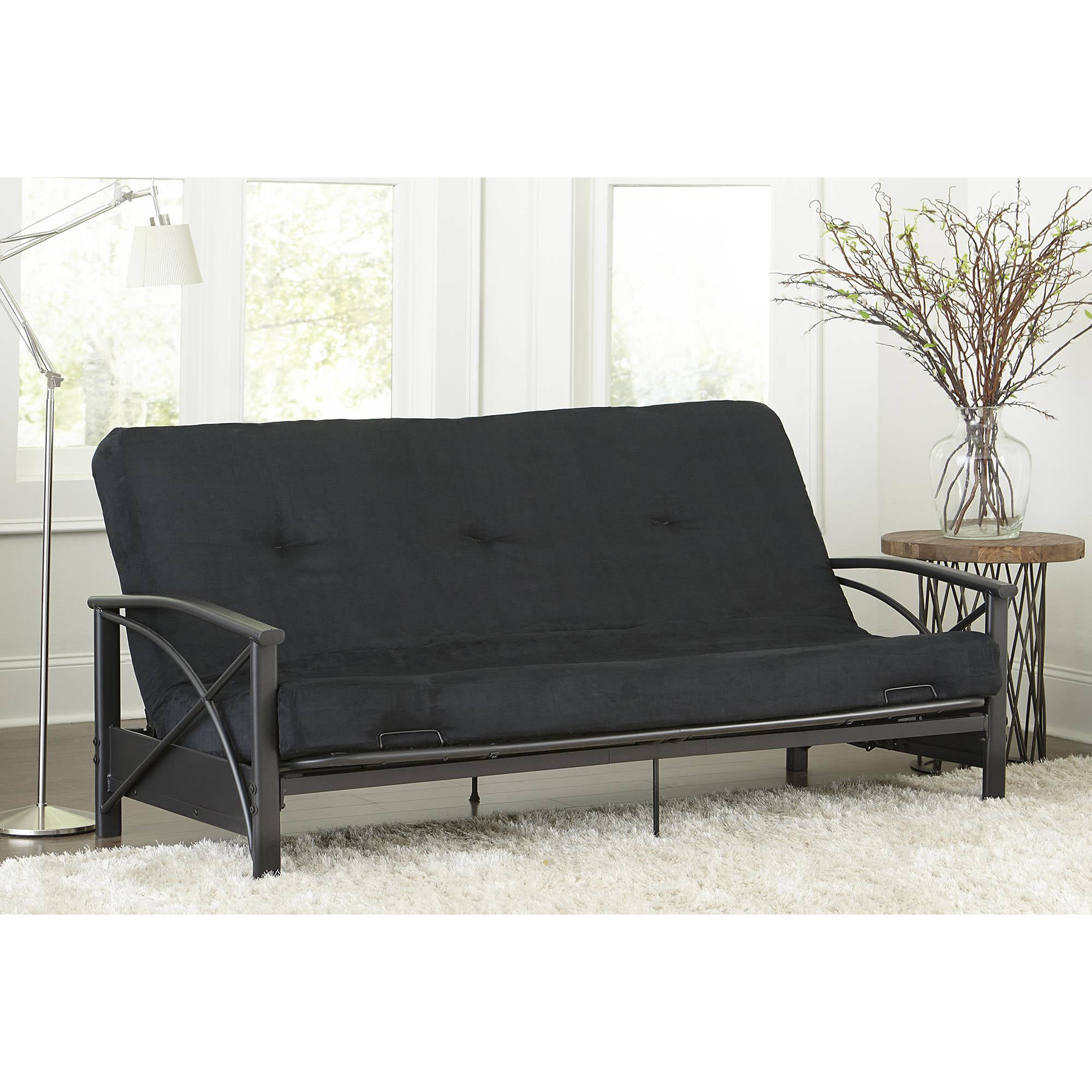 Mainstays Monaco Black Metal Futon with 6 Mattress Walmartcom