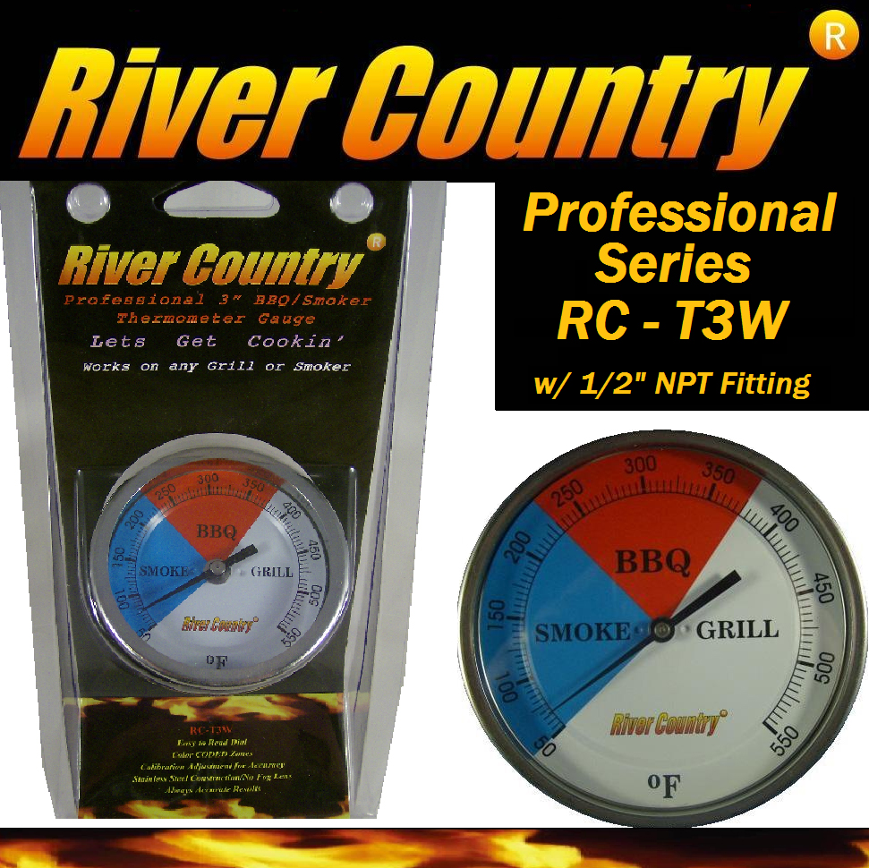 "3"" River Country (RC-T3W) Adjustable Professional BBQ, Grill, Smoker Thermometer (50 to 550F)"