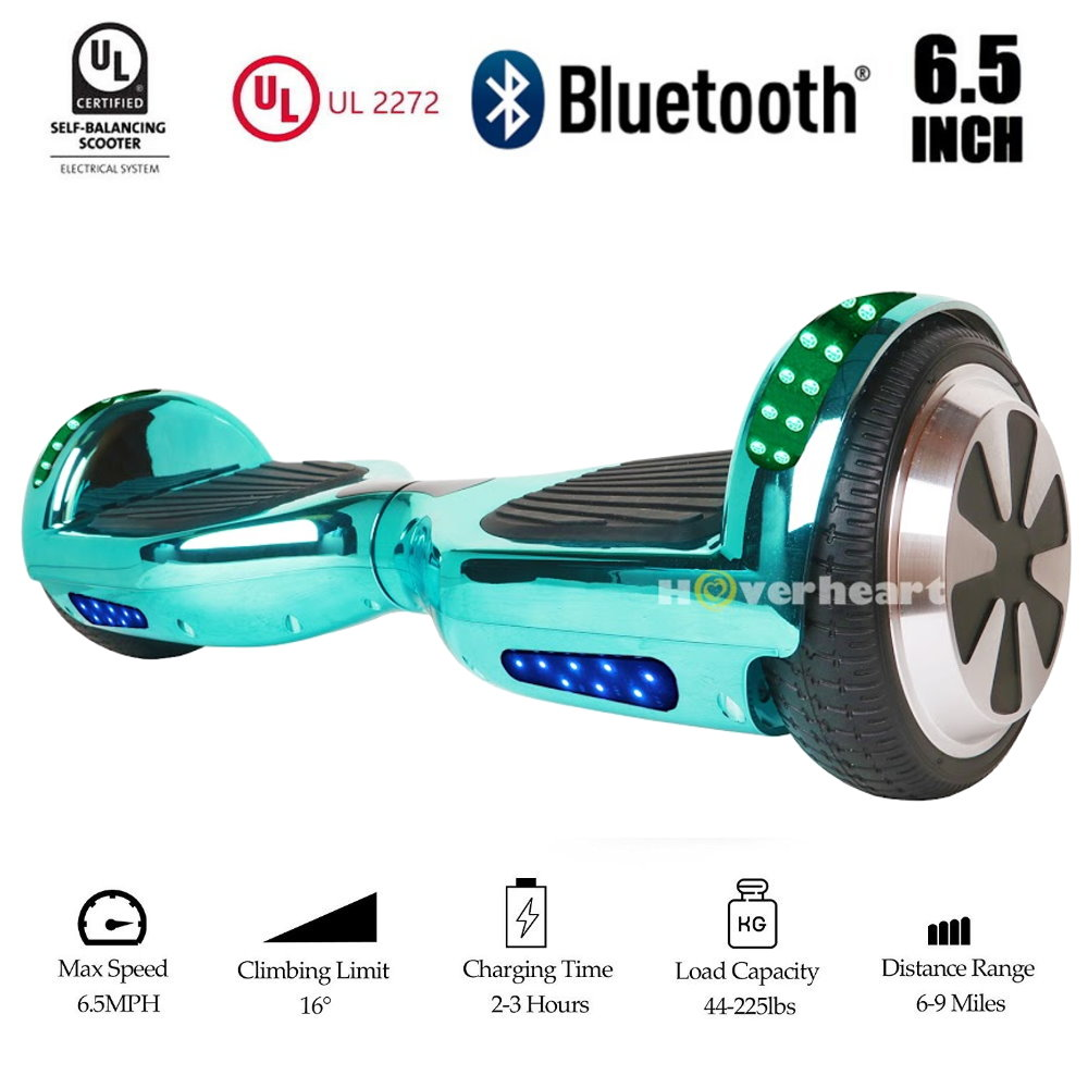 """UL2272 Certified Bluetooth TOP LED6.5"""" Hoverboard Two Wheel Self Balancing Scooter Chrome Turquiose"""