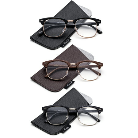 Quality Fashion Clummaster Reading Glasses for Men Retro Vintage Reading Glasses Horn Rimmed Half Frame Reading (Best Quality Glasses Frames)