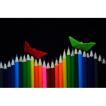 Canvas Print Colored Pencils Pens Paint Crayons Draw Stretched Canvas 10 x 14 - Pencil Crayons