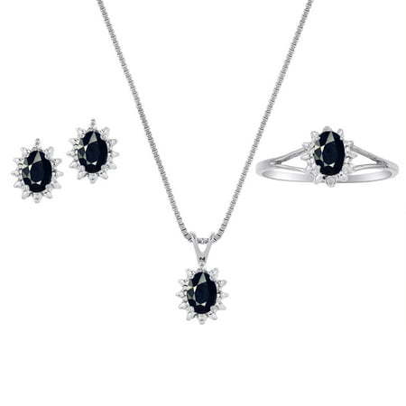 Genuine Natural Black Onyx & Diamond Pendant, Earrings & Ring Set in Sterling Silver .925 with Chain and Gift - Chain And Earring Gift Set