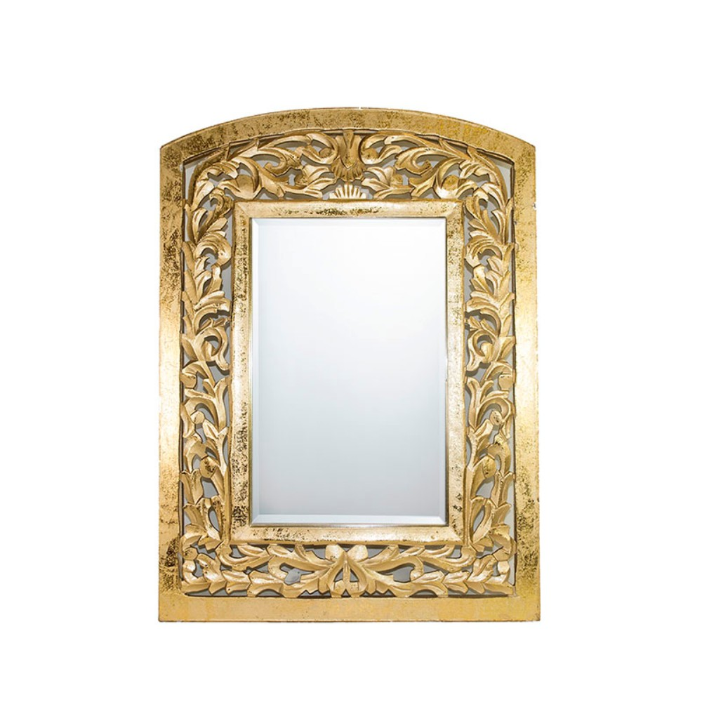 Astounding Decorative Wall Mirror With Wooden Carvings Frame, Gold