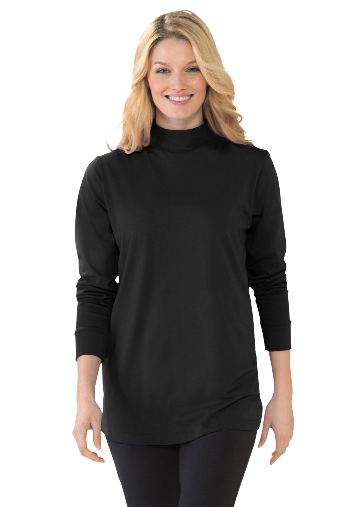 Woman Within Womens Plus Size Thermal Turtleneck Long Underwear Top