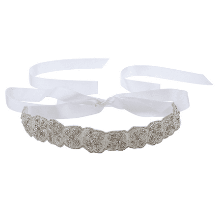 Lux Accessories White Ivory Beaded Applique Satin Tie Fashion -