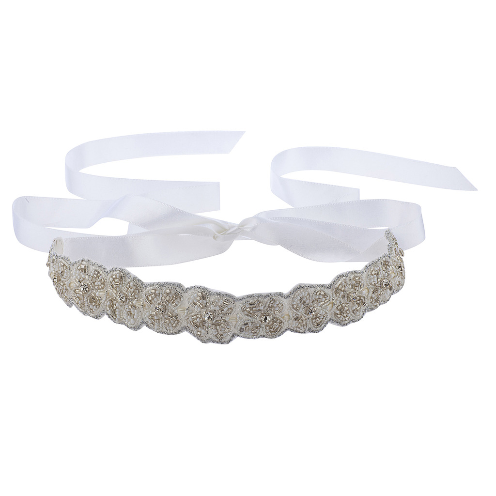 Lux Accessories White Ivory Beaded Applique Satin Tie Fashion Headband