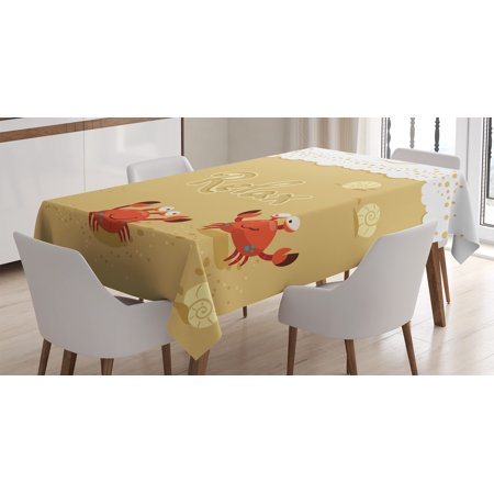 Crabs Decor Tablecloth, Funny Summer Card with Cute Crabs on the Beach Holiday Theme Print, Rectangular Table Cover for Dining Room Kitchen, 60 X 90 Inches, Sand Brown and White, by Ambesonne for $<!---->