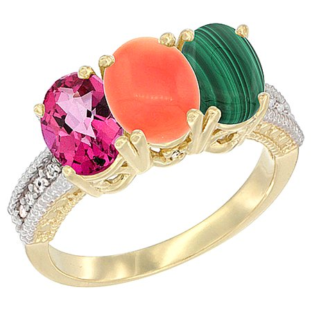 14K Yellow Gold Natural Pink Topaz, Coral & Malachite Ring 3-Stone 7x5 mm Oval Diamond Accent, sizes 5 - 10