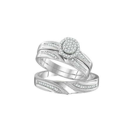 Sizes - L = 7, M = 10 - 925 Sterling Silver Trio His & Hers Round Diamond Cluster Matching Bridal Wedding Ring Band Set (1/4