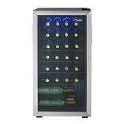 Danby DWC036A1BSSDB-6 3.3 Cu. Ft. Free Standing Wine Cooler, Holds 36 Bottles, Single Zone Fridge with Glass Door-Chiller for Kitchen, Home Bar, Stainless Steel