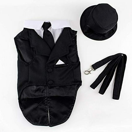 Midlee Dog Tuxedo Wedding Suit- Black Top Hat & Leash by