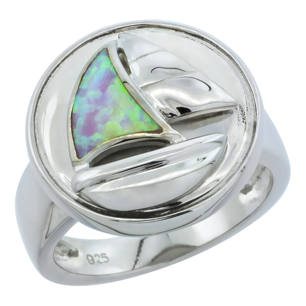 Sterling Silver Synthetic Pink Opal Sail Boat Ring, 11 16 inch by WorldJewels