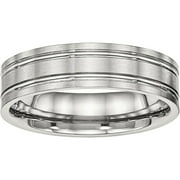 Stainless Steel Brushed and Polished Ridged 6.00mm Band