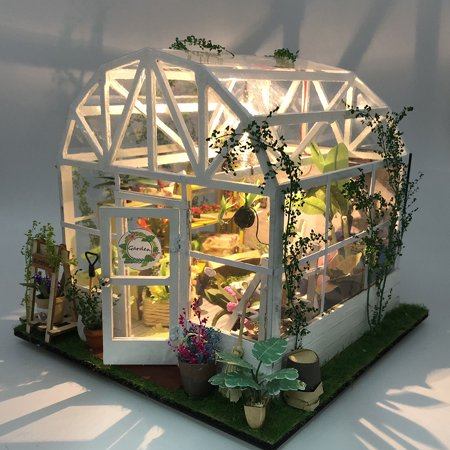 DIY Dollhouse Wooden Miniature Furniture Kit Mini Green House Flower House with LED Birthday Gifts for Children Girls Women - image 4 of 7