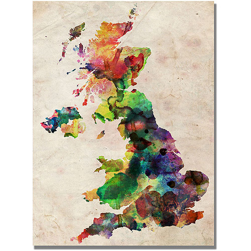 "Trademark Art ""UK Watercolour Map"" Canvas Art by Michael Tompsett"