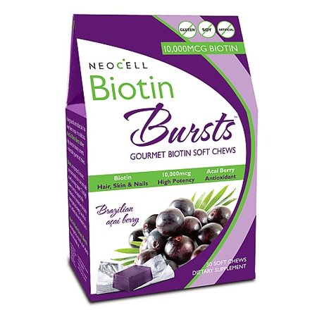 NeoCell Biotin Bursts 10,000 mcg- Brazilian Acai Berry 30 Soft Chews Acai Cleanse Acai Berry