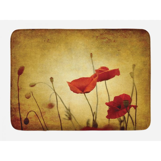 Poppy Bath Mat Poppies And Flower Buds On Ambient Dark Grunge Background With Retro Effects Bohemian Non Slip Plush Mat Bathroom Kitchen Laundry Room Decor 29 5 X 17 5 Inches Cream Red Ambesonne