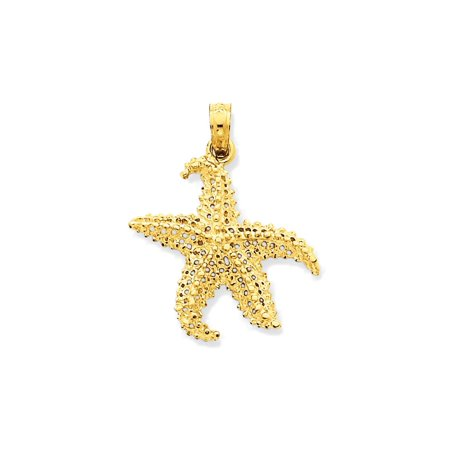 Gold Starfish Charm - 14K Yellow Gold Open-Backed Starfish Charm Pendant - 24mm