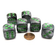 Chessex Gemini 20mm Big D6 Dice, 6 Pieces - Black-Grey with Green Pips #DG2045