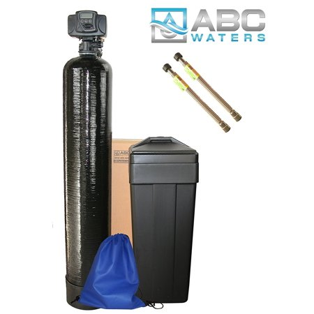 ABCwaters Built Fleck 5600sxt 48,000 Water Softener w/ UPGRADED IRON REMOVAL + Hardness test + Install Kit + 2 Stainless Steel