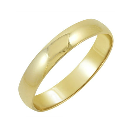 Oxford Ivy Men's 14K Yellow Gold 4mm Classic Fit Plain Wedding Band (Available Ring Sizes 8-12 - 4mm Marquise Ring Setting
