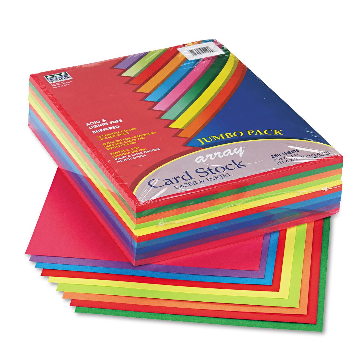 Pacon Array Card Stock, 65 lb., Letter, Assorted Lively Colors, 250 Sheets/Pack -PAC101199