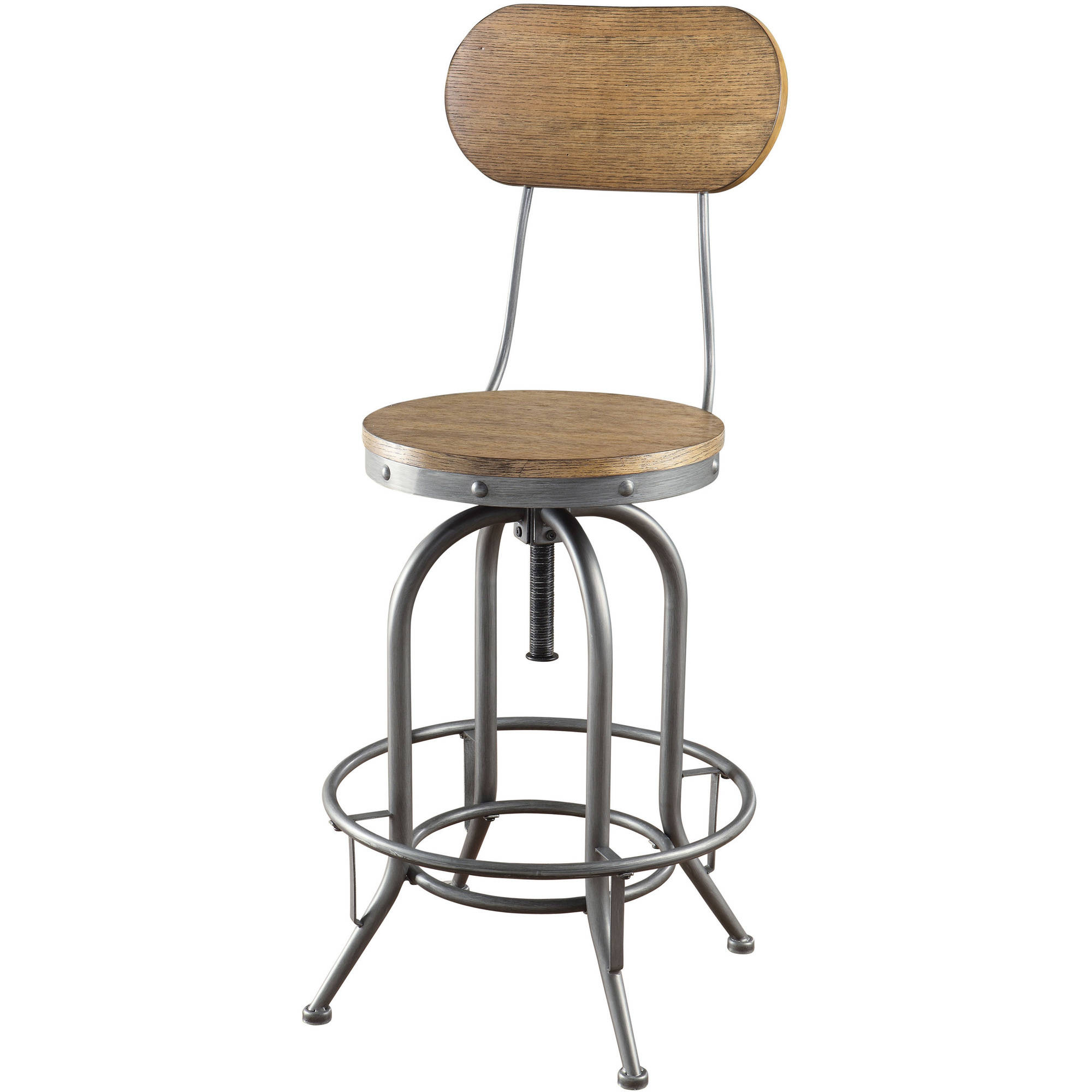Coaster Company Adjustable Bar Stool, Weathered Brown