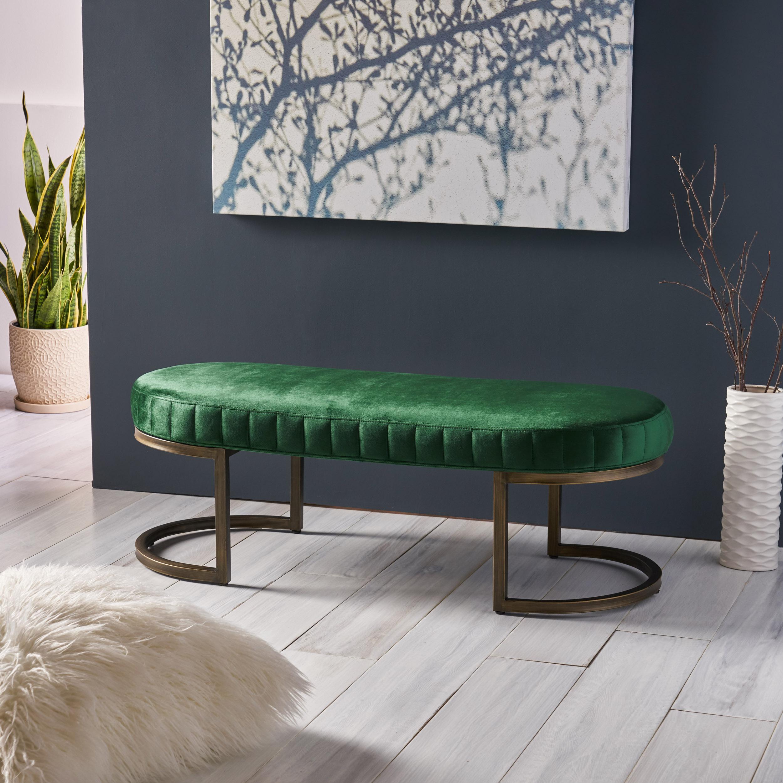 Nash Modern Glam Velvet Bench, Side Channels, Emerald and Brass