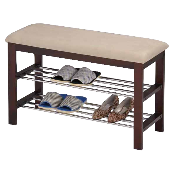 Tulia Beige Fabric & Walnut Wood Frame 2 Tier Transitional Shoe Rack Organizer Display Bench With Chrome Metal Racks