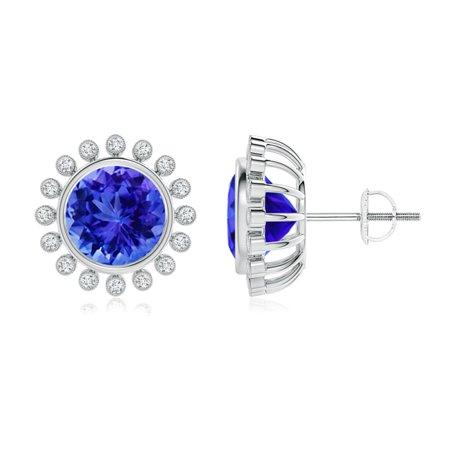 eb5556b49 Angara - Bezel-Set Tanzanite and Diamond Halo Stud Earrings in 14K White  Gold (8mm Tanzanite) - SE1037TD-WG-AAA-8 - Walmart.com