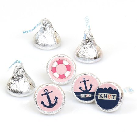 Pink And Blue Hershey Kisses (Ahoy - Nautical Girl - Party Round Candy Sticker Favors - Labels Fit Hershey's Kisses (1 sheet of)