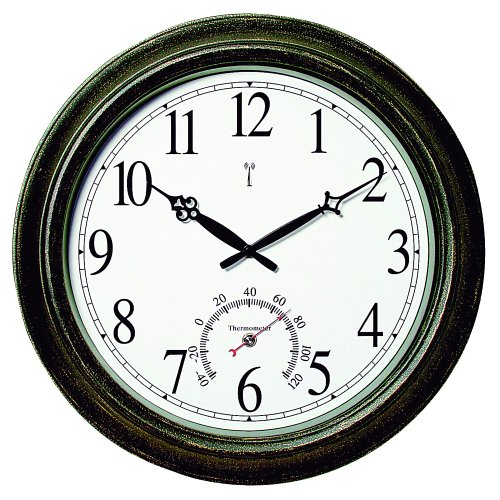 """Chaney Instrument 18"""" Metal Indoor Or Outdoor Atomic Clock With Thermometer 50308 - Analog - Atomic"""