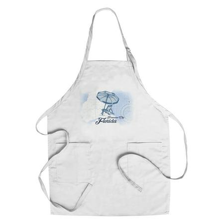 Panama City, Florida - Beach Chair & Umbrella - Blue - Coastal Icon - Lantern Press Artwork (Cotton/Polyester Chef's Apron) ()