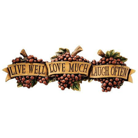 Inspirational Kitchen Grapes Live Love Laugh Wall Sculpture (Inspirational Wall Sculpture)