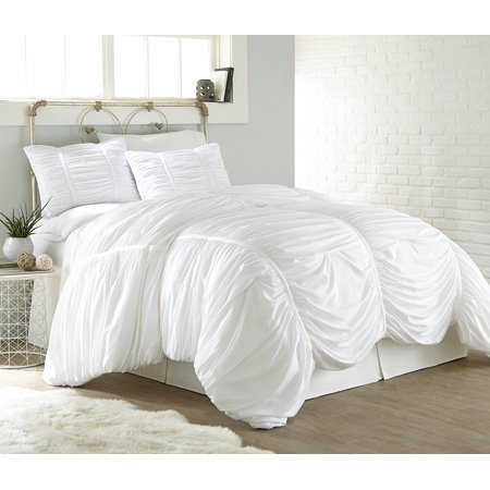 Chezmoi Collection Cassandra Chic Ruched Ruffle Duvet Cover Set